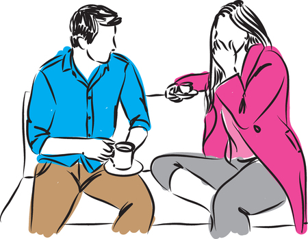 hot woman: man and woman in a date drinking coffee illustration Illustration