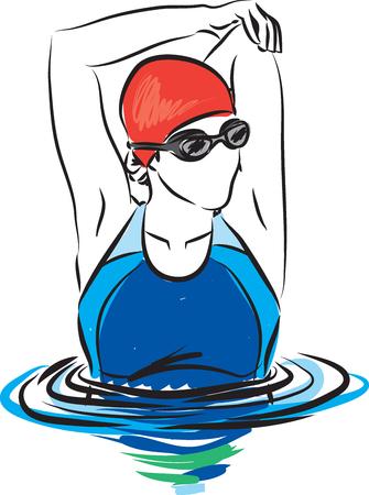 professionelle Frau Schwimmer Stretching Illustration