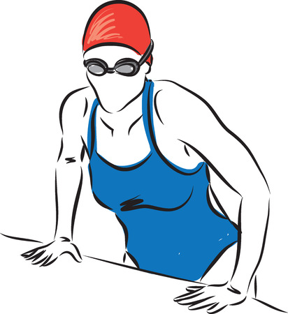 professional swimmer woman getting out of the pool Illusztráció