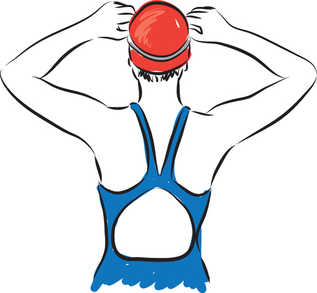 wet girl: professional woman swimmer getting ready illustration