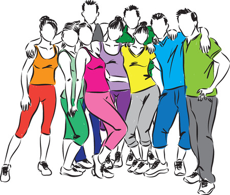 group fitness: fitness group people  illustration