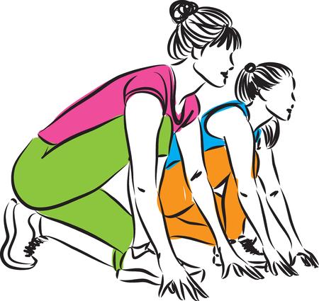 starting: women runners starting race illustration Illustration