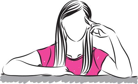 mente humana: Ilustración de la mujer pensamiento gesto Vectores