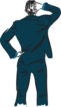 businessman thinking gesture illustration