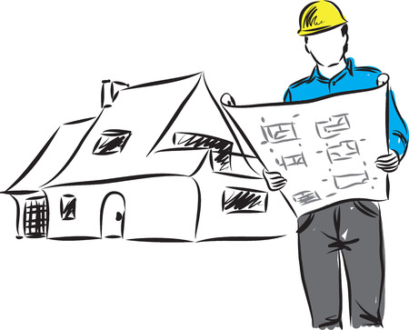 housing project: ARCHITECT WITH PLANS ILLUSTRATION