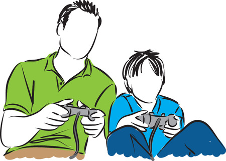 father and son: father and son playing video games illustration