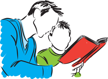 reading a book: father and son reading a book illustration Illustration