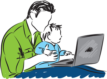 loving: father and baby with a laptop computer illustration