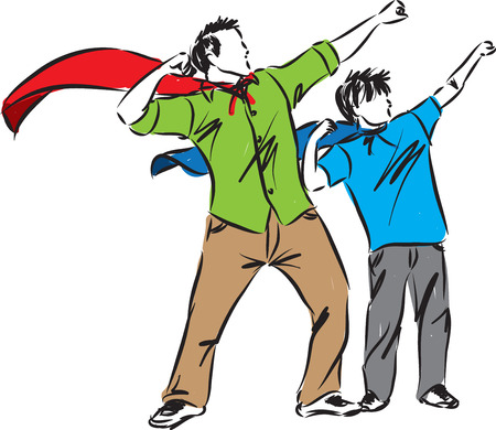 vader en zoon illustratie vaderdag