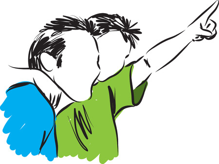 father and son holding hands: FATHER AND SON 2 ILLUSTRATION