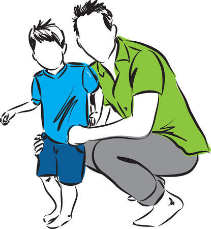 FATHER AND SON ILLUSTRATION Vettoriali