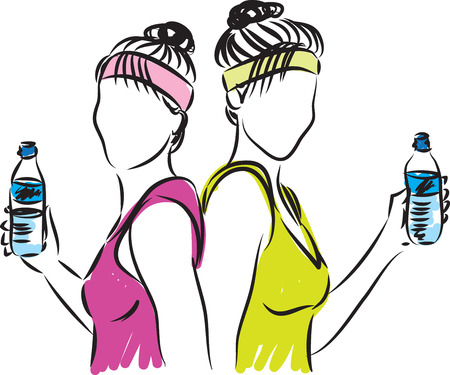 towel: fitness women with bottle of water illustration