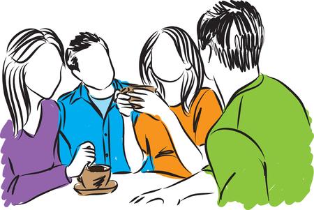 tomando café: amigos juntos ilustración de la hora del café