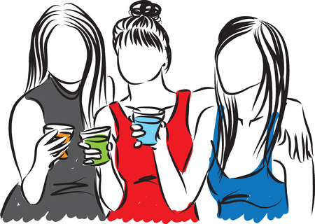 women at party with drinks illustration Illustration