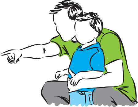 father and little boy illustration