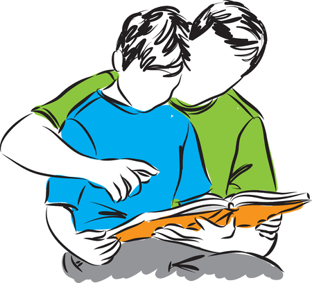 child sitting: father and son reading a book illustration Illustration