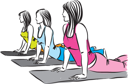 women yoga fitness group work out illustration