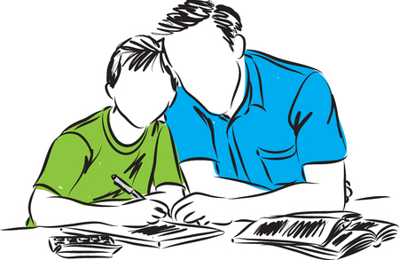 father and son doing homework illustration 矢量图像
