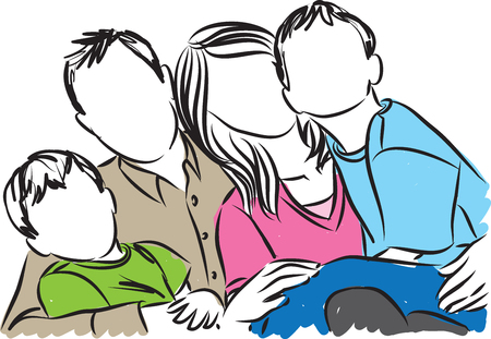 stock photograph: happy family illustration