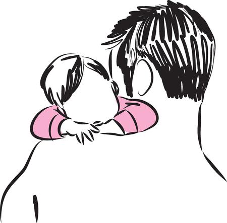 ojciec i dziecko dziewczynka ilustracja
