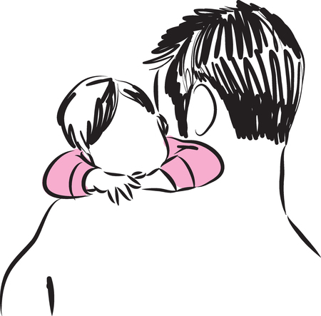 father and baby girl illustration