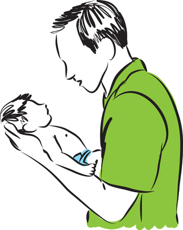 firstborn: FATHER AND BABY ILLUSTRATION