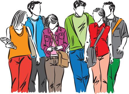 ilustracion: Grupo de estudiantes adolescentes caminando ILUSTRACIÓN