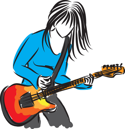 artist singer woman with guitar illustration