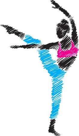 woman dancer illustration brush style Çizim