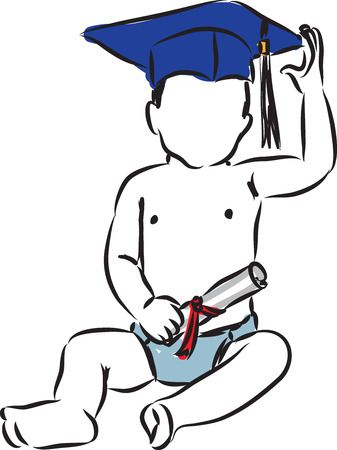 education concept baby graduated illustration Çizim