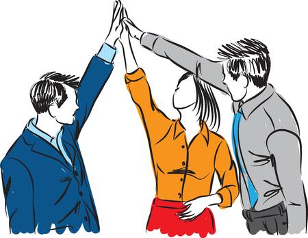 la gente de negocios del equipo del grupo de trabajo de ilustración