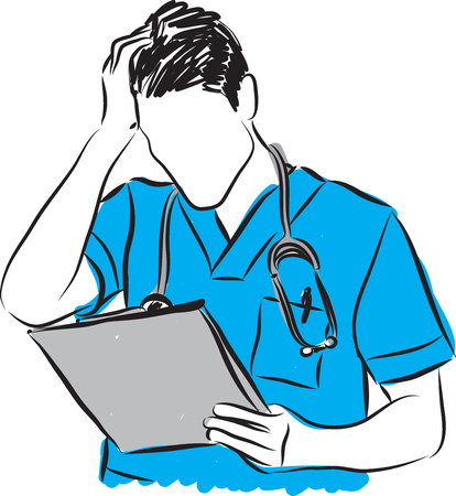 diagnosis: doctor gesture bad DIAGNOSIS results problems illustration