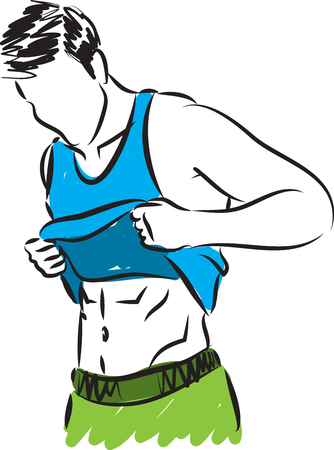 midsection: fitness man showing abdominal muscles illustration