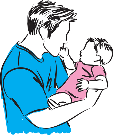 baby girl: father and baby girl illustration
