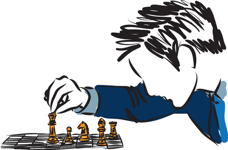businessman playing chess business concept illustration Vettoriali