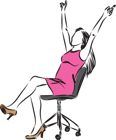 executive woman: happy businesswoman sitting on a chair illustration