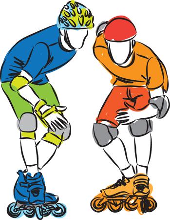 skaters: men roller shoes skaters illustration