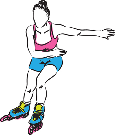 roller: woman roller shoes skater illustration Illustration