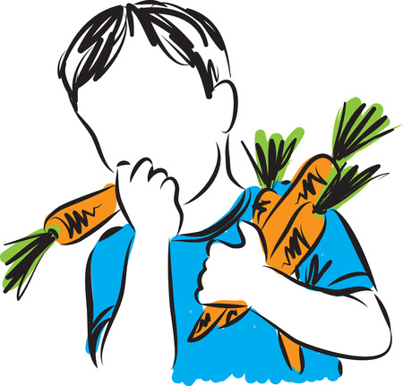 eat healthy: boy eating carrots illustration Illustration