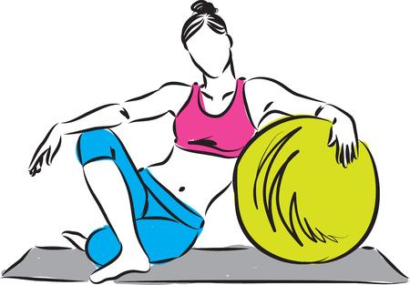 fille fitness avec ballon d'exercice illustration