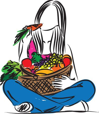 건강한 음식을 먹는 여자 일러스트 레이션