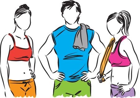 gym workout: fitness people man and women illustration
