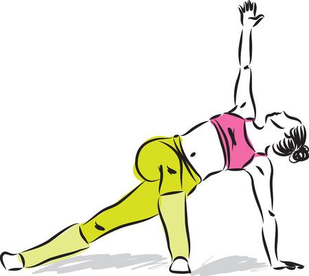pose: YOGA woman stretching illustration Illustration