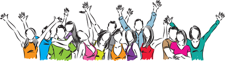 GROUP OF HAPPY PEOPLE ILLUSTRATION