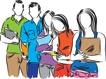 free stock photos: group of students illustration