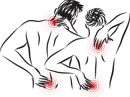 woman and man with back pain illustration