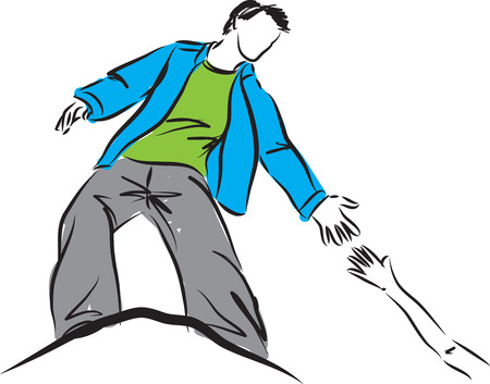 stock clip art icon: man helping to climb over concept illustration