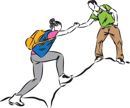 MAN HELPING TO CLIMB WOMAN CONCEPT ILLUSTRATION Illustration