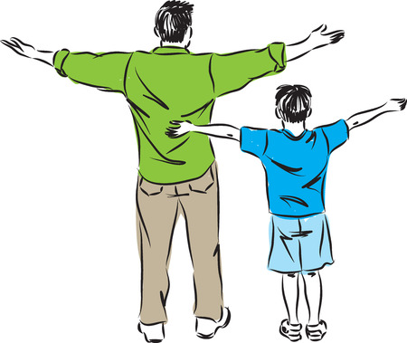 little man: FATHER AND SON ILLUSTRATION FREEDOM GESTURE