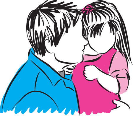 father: father and daughter illustration Illustration